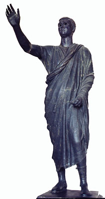 Bronze Statue of a Roman Orator in a Toga, First Century BC. Florence, Archaeological Museum. Credits: Barbara McManus, 1979